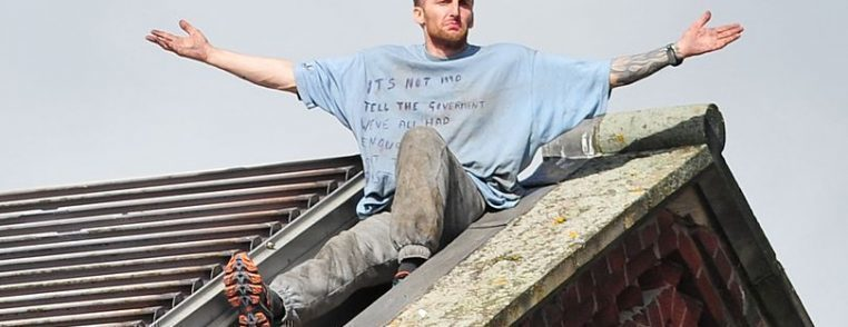 Prisoner Stuart Horner on the roof of HMP Manchester